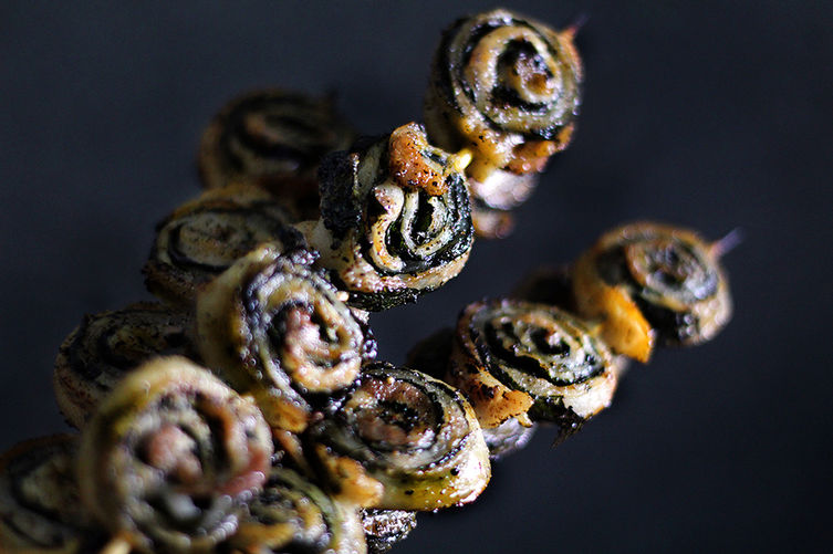 pork belly and shiso skewer/yakitori