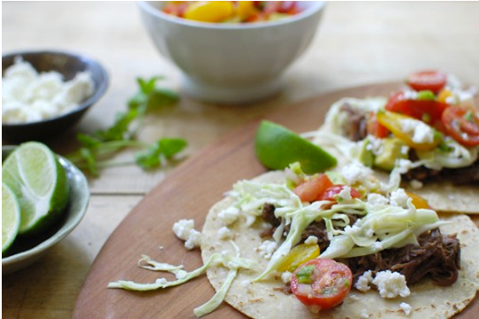 Shredded Beef Tacos with Spicy Cabbage Slaw