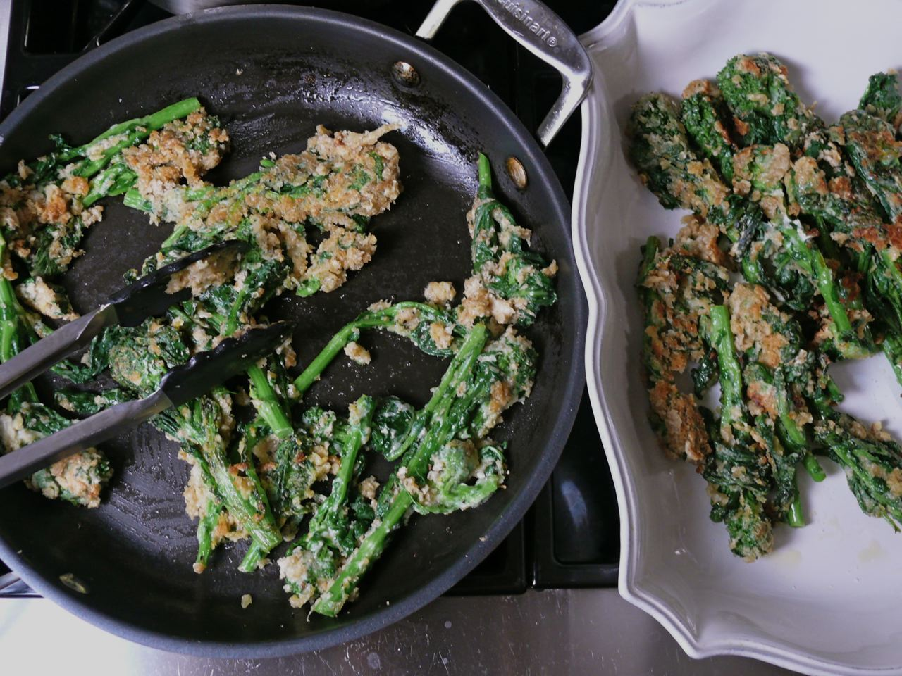 porcini-fried rapini (broccoli rabe)
