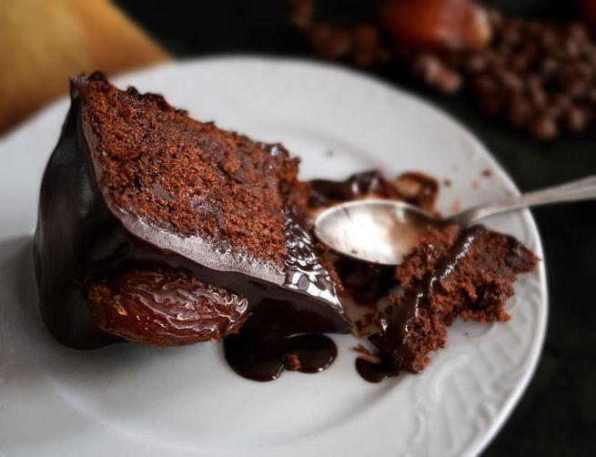 Chocolate-Date Cake with Chocolate Sticky Toffee Glaze