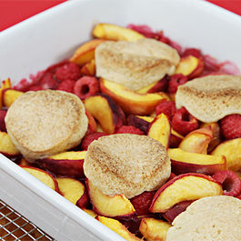 Peach-raspberry cobbler with Cointreau Chantilly