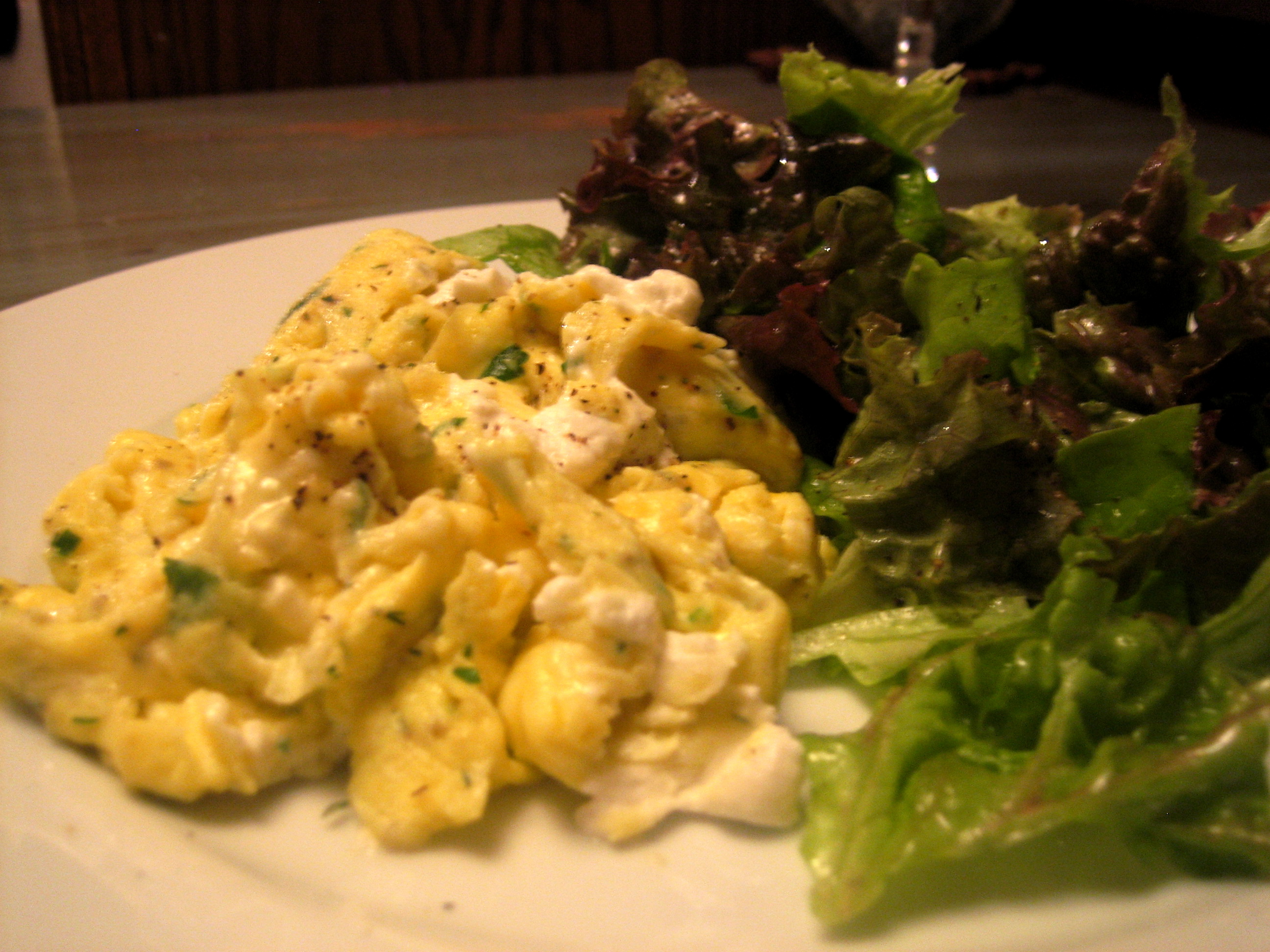 Fluffy Herbed Eggs with a Soft Green Salad