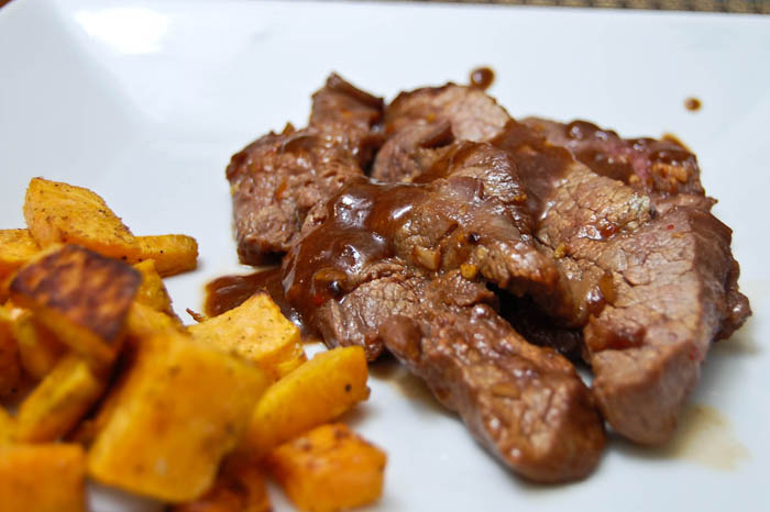 Korean Flank Steak w/ Roasted Sweet Potatoes