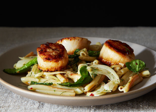 Vernal Greens Pasta with Seared Scallops from Food52
