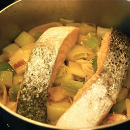 Poached Salmon with Leeks