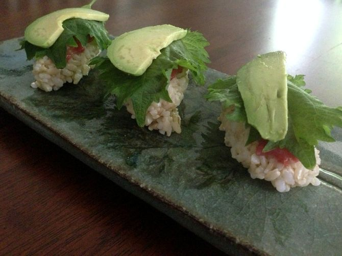 Shiso Nigiri with Avocado and Umeboshi Paste