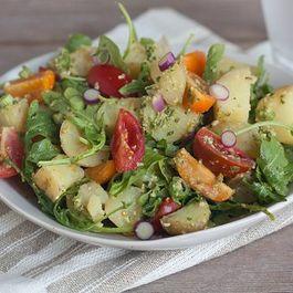 Tomato, Arugula, and Fingerling Potato Salad with Green Olive Pesto