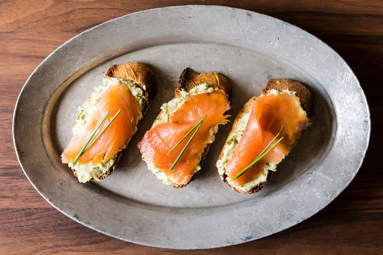 Smoked Salmon on Mustard-Chive and Dill Butter Toasts on Food52