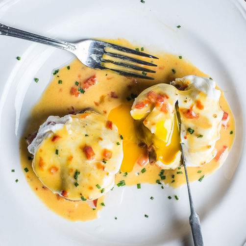 Fried Green Tomato Benedict with Smithfield Ham & Pimiento Cheese Hollandaise