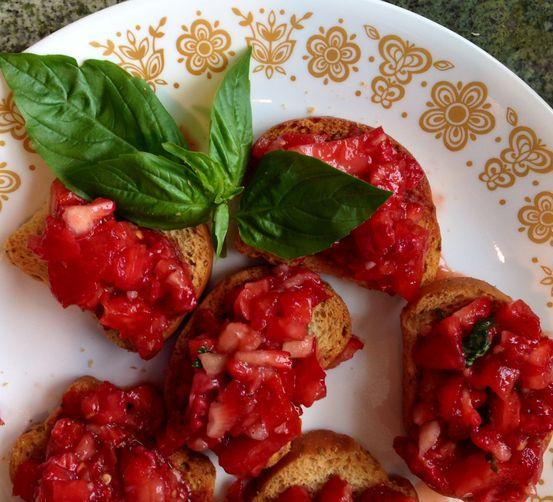 Not-Too-Sweet Tomato Strawberry Bruschetta