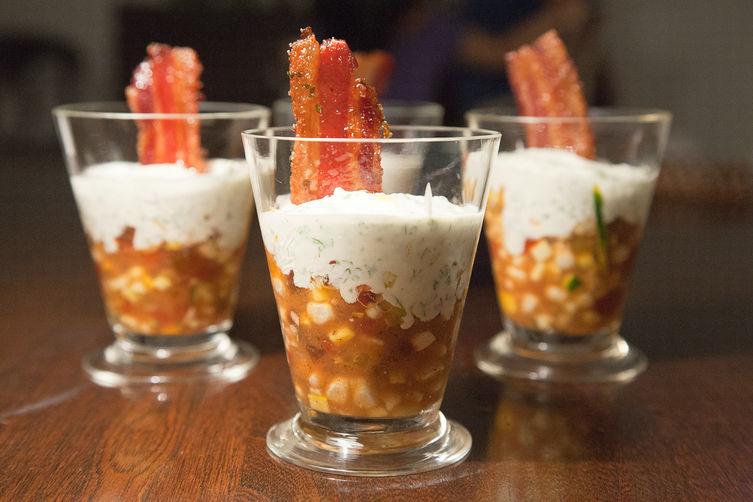 Smoky Heirloom Tomato Corn Verrines
