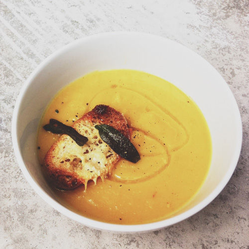 Butternut Squash Soup with Parmesan Crostini