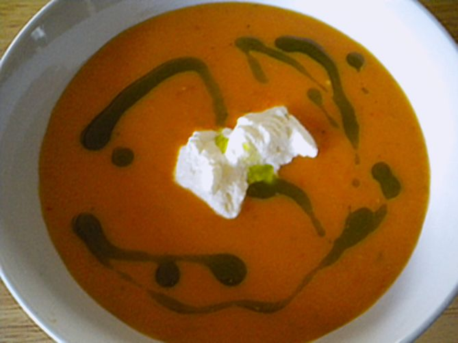 Roasted Tomato, Whipped Burrata, and Basil Oil Soup