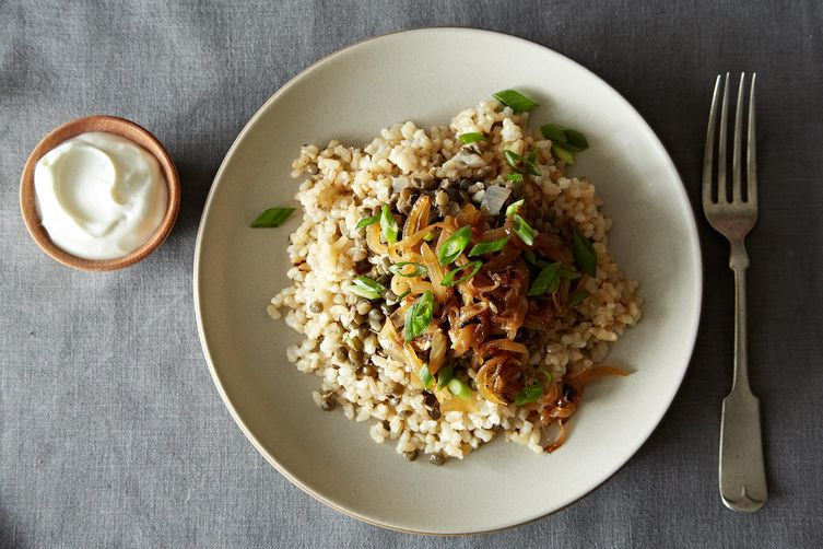 Sephardic Megedarra with Garlicky Brown Rice Pilaf from Food52