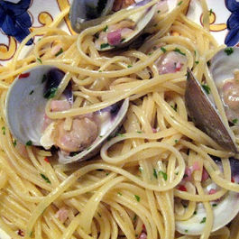 "Linguine with Cockles and Guanciale ""in Bianco"""