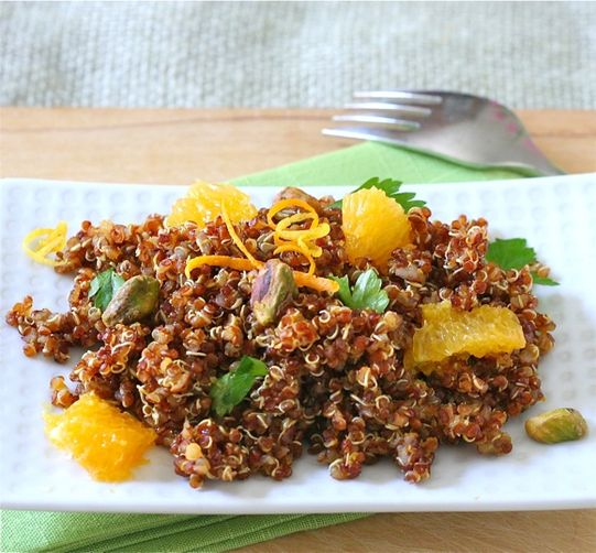 Red Quinoa Salad with Citrus and Pistachios