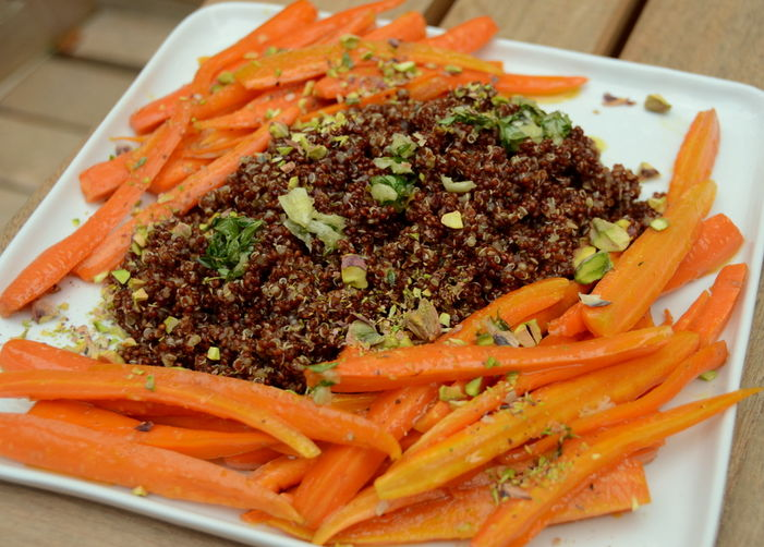 Red Quinoa with Honey-Glazed Carrots, Thyme Pistou and Pistachios