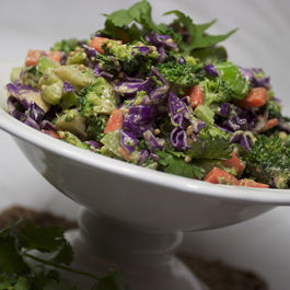 Chopped Broccoli Salad {with Tahini Soy Dressing}
