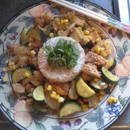 Oriental Spring Chicken w/Zucchini and Corn