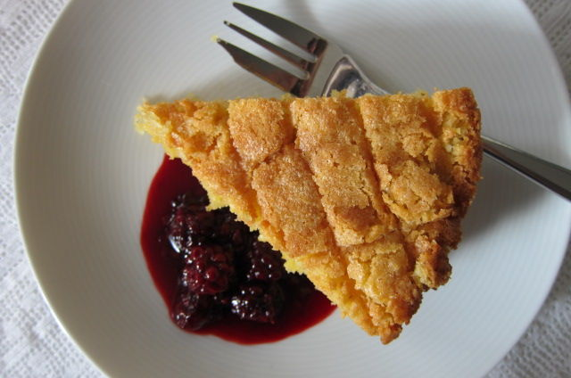 Almond, polenta & lemon cake with blackberry compote