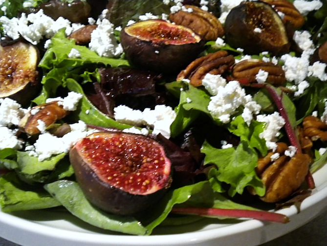 Roasted Fig, Feta and Pecan Salad