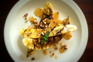 Grilled Bananas with Buttered Maple Sauce and English Almond Toffee