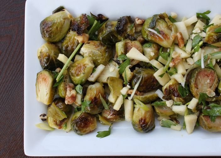 Roasted Brussels Sprouts with Apple, Chile & Walnuts