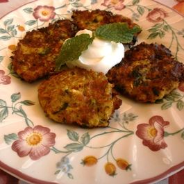 Zucchini patties with fresh mint and feta cheese