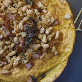 Pumpkin Dutch Baby Pancake with Bacon-Roasted Beans + Oregano