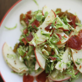 Brussels Sprouts Salad with Apples + Crispy Prosciutto