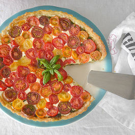 Tomato Tart with Pesto and Mozzarella
