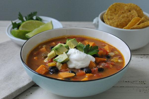 Spicy Black Bean & Sweet Potato Soup
