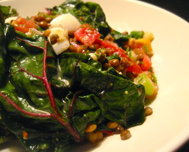 Chopped Lentil Salad with Swiss Chard, Tomato & Egg recipe ...