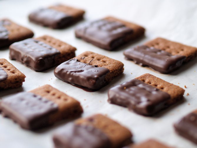 Chocolate covered graham crackers