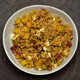 Farro, Gold Beet, Feta and Maple Pecan Salad with Chive-Sage Oil Dressing