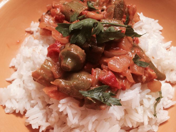 Savory Smoky Okra Tomato Ratatouille with Drizzles of Honey
