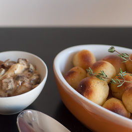 Pommes dauphines and blue cheese & mushroom sauce