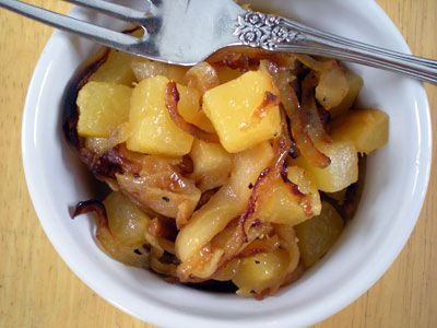Rutabaga with Caramelized Onions and Apples
