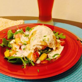 Cider Poached BBQ Chicken With Alabama White Sauce And Bacon Apple Salad