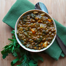 French Lentil Soup with Turnips, Parsnips and Lamb's Quarters (Quelites)
