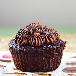 Vegan Chocolate stout cupcake, choco-whiskey filling & irish cream frosting