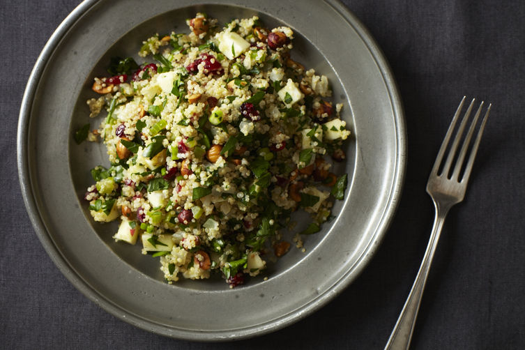 quinoa salad with cranberries, apples, and hazelnuts via food 52