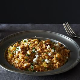 Farro Risotto with Caramelized Apples and Fennel