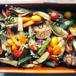Roasted vegetables with caper vinaigrette. It won't get any better..