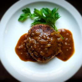 Japanese Chopped Steak with Caramelized Onion Curry Gravy (Hanb?gu)