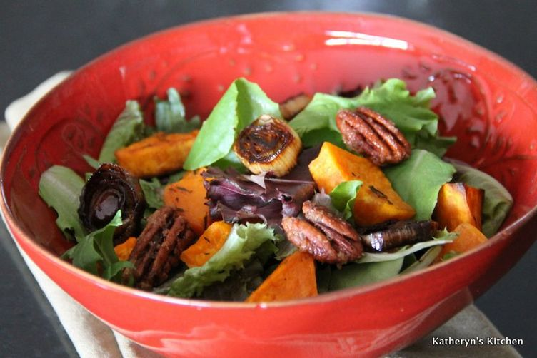 Roasted Sweet Potato and Leek Salad
