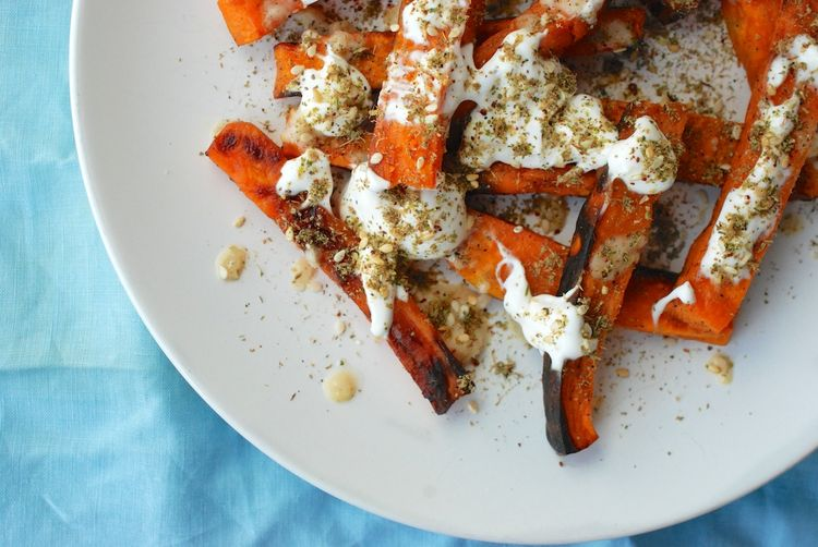 "Sweet Potato ""Fries"" with Za'atar and Labneh"