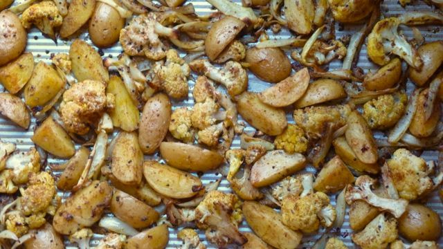 Roasted Potatoes and Cauliflower with Indian Spices