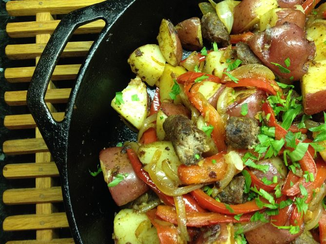Bliss Potatoes with Sausage and Peppers