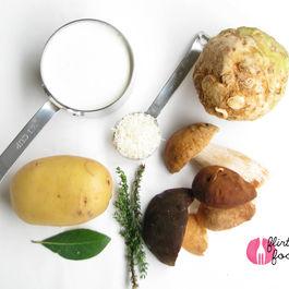 Porcini, Celeriac, and Potato Gratin